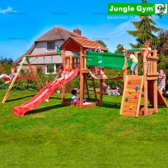Детский городок Jungle Gym Jungle Cottage+SwingModule Xtra+BridgeModule