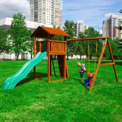 Детский городок Jungle Gym Jungle Cottage+SwingModule Xtra + Rock Module