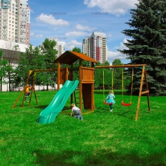 Детский городок Jungle Gym Cottage + Rock+SwingModule Xtra + Рукоход